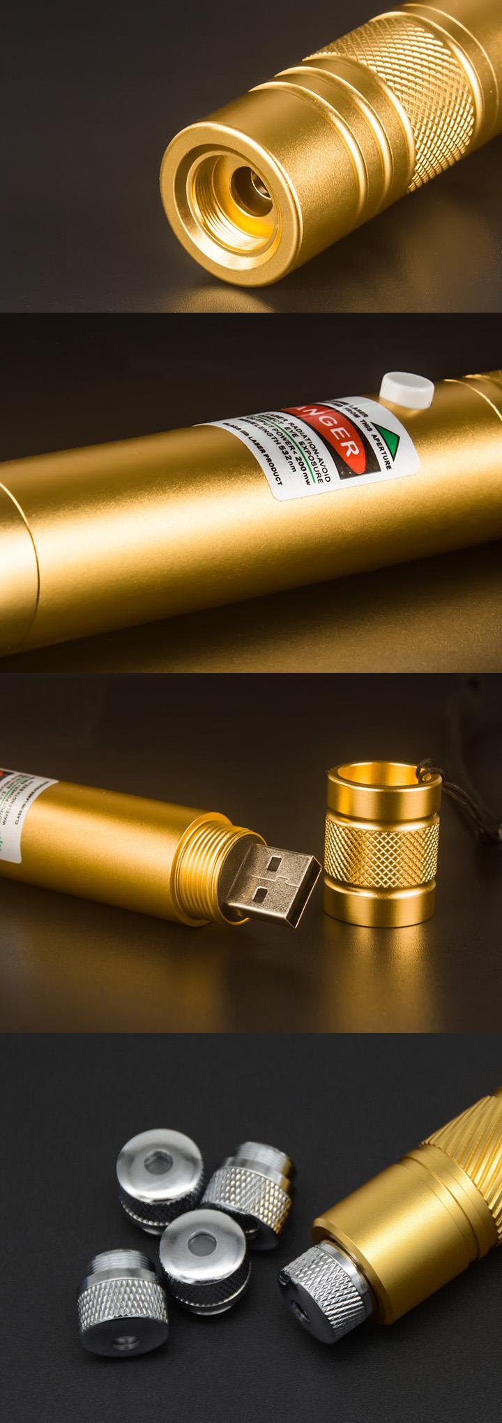 Puntatore laser rosso ricaricabile USB ad alta potenza ...